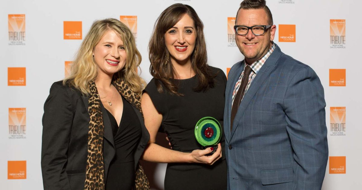 Sales Person of the Year - Katie Hira of DR Horton (center)
